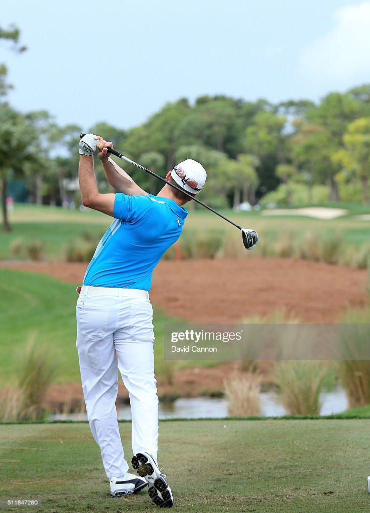 Jonas Blixt of Sweden plays a 3 wood tee shot (frame 12 of sequence) during practice as a preview for the 2016 Honda Classic held on the PGA National Course at the PGA National Spa and Resort on February 23, 2016 in Palm Beach Gardens, Florida.
