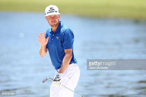 Jonas Blixt of Sweden plays a bunker shot on the 4th hole during day two of the 2017 Australian Golf Open at the Australian Golf Club on November 24...