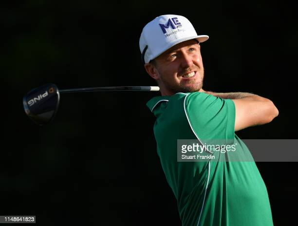 Jonas Blixt of Sweden plays a shot during the continuation of the weather delayed third round at the AT&T Byron Nelson at Trinity Forest Golf Club on...