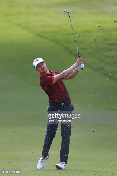 Jonas Blixt of Sweden plays a shot on the 18th hole during the third round of the Charles Schwab Challenge at Colonial Country Club on May 25, 2019...