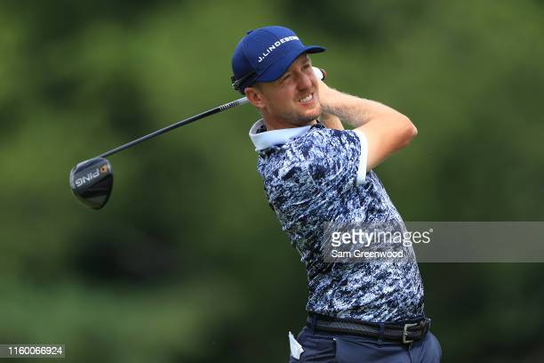 Jonas Blixt of Sweden plays his shot from the 14th tee during the first round of the 3M Open at TPC Twin Cities on July 04, 2019 in Blaine, Minnesota.