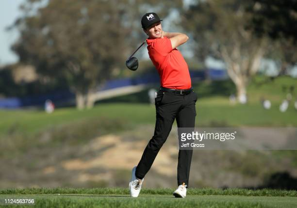 Jonas Blixt of Sweden plays his shot from the fifth tee on the South Course during the first round of the the 2019 Farmers Insurance Open at Torrey...