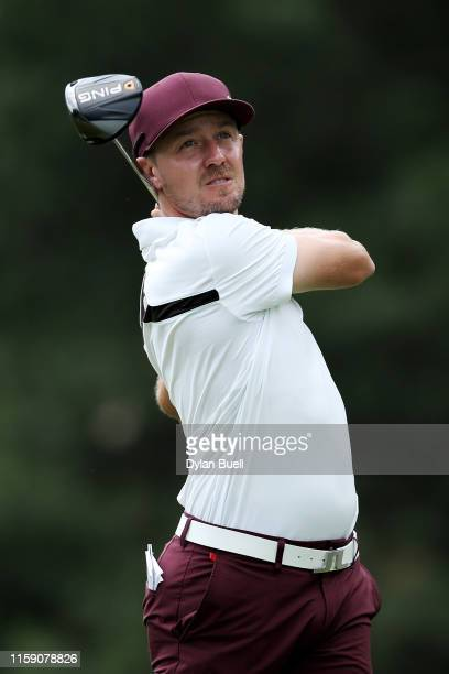 Jonas Blixt of Sweden plays his shot from the fourth tee during round three of the Rocket Mortgage Classic at the Detroit Country Club on June 29,...
