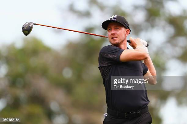 Jonas Blixt of Sweden plays his shot from the sixth tee during the first round of the Travelers Championship at TPC River Highlands on June 21, 2018...
