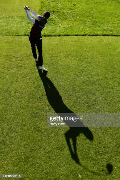 Jonas Blixt of Sweden plays his shot from the tenth tee during the third round of the AT&T Pebble Beach Pro-Am at Pebble Beach Golf Links on February...