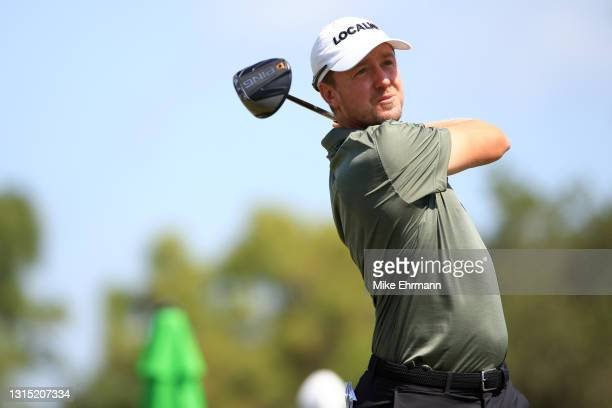 Jonas Blixt of Sweden plays his shot from the tenth tee during the first round of the Valspar Championship on the Copperhead Course at Innisbrook...