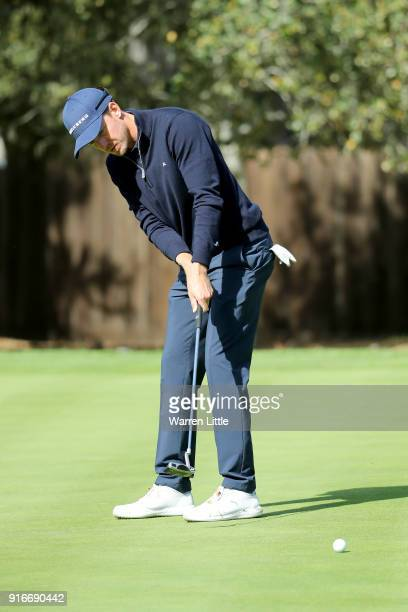 Jonas Blixt of Sweden putts on the 11th green during Round Three of the AT&T Pebble Beach Pro-Am at Spyglass Hill Golf Course on February 10, 2018 in...