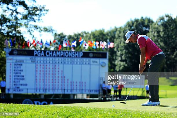 Jonas Blixt of Sweden putts on the 18th green during the third round of the 95th PGA Championship at Oak Hill Country Club on August 10, 2013 in...
