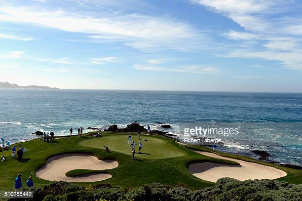 Jonas Blixt of Sweden putts on the seventh green during the final round of the ATT Pebble Beach National ProAm at the Pebble Beach Golf Links on...
