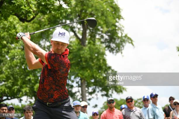 Jonas Blixt of Sweden swings on the sixth tee during the third round of the Charles Schwab Challenge at Colonial Country Club on May 25, 2019 in Fort...