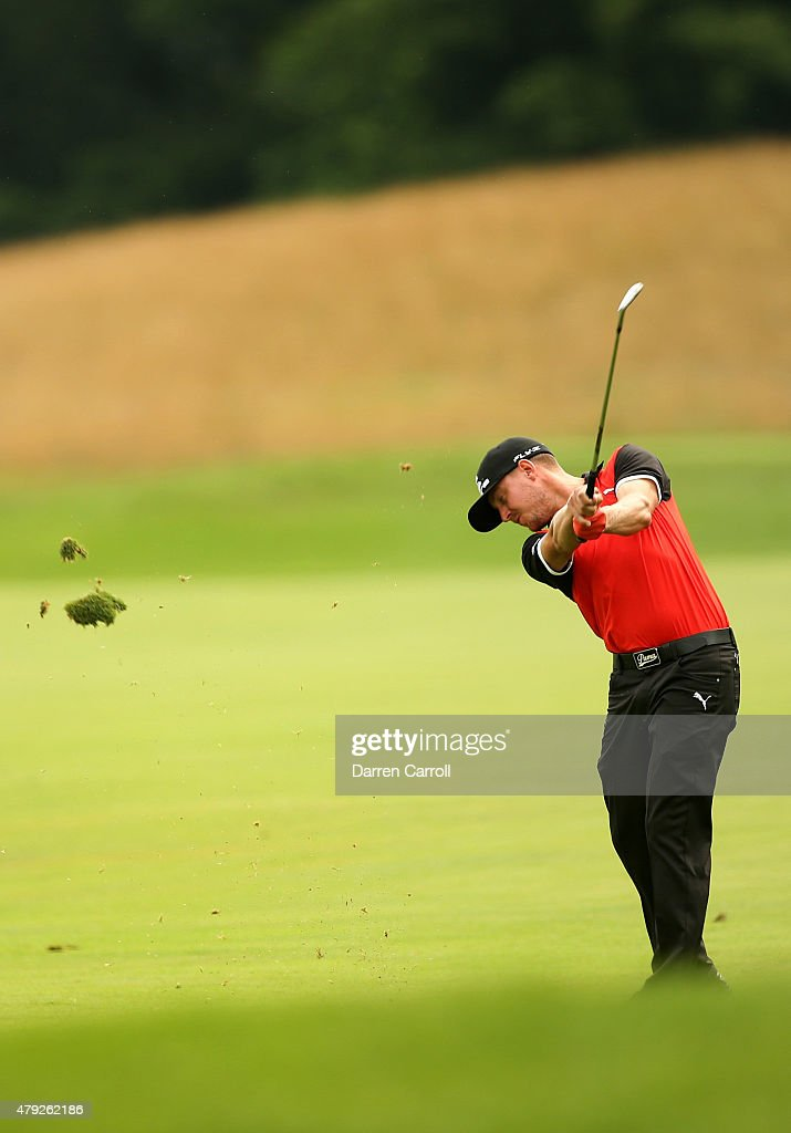 Jonas Blixt of Sweden takes his second shot on the 16th hole during the first round of the Greenbrier Classic at the Old White TPC on July 2, 2015 in White Sulphur Springs, West Virginia.