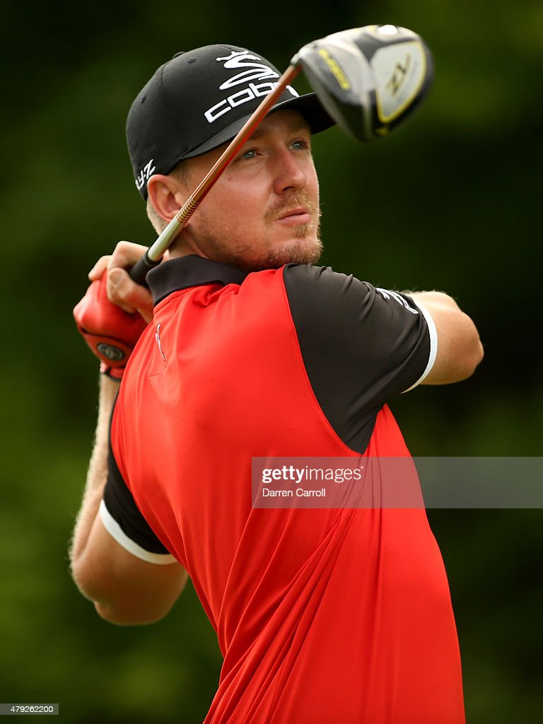 Jonas Blixt of Sweden tees off on the 17th hole during the first round of the Greenbrier Classic at the Old White TPC on July 2, 2015 in White Sulphur Springs, West Virginia.