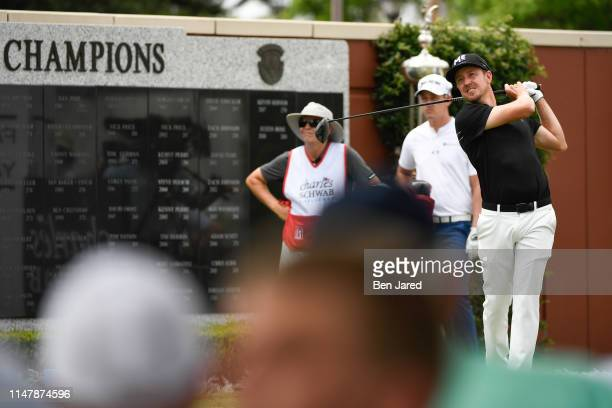 Jonas Blixt of Sweden tees off on the first tee box during the final round of the Charles Schwab Challenge at Colonial Country Club on May 26 2019 in...