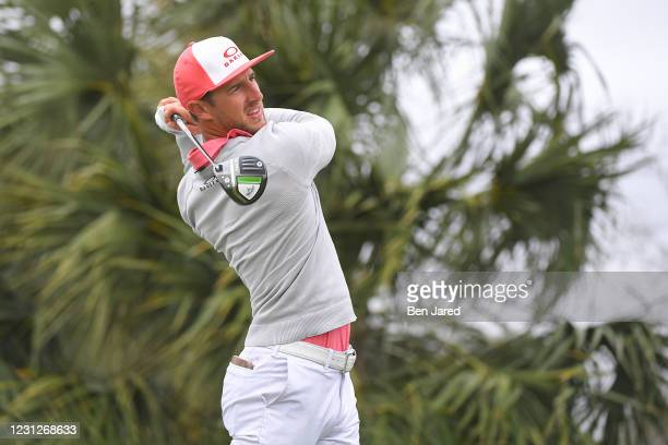Jonas Blixt of Sweden tees off on the fourth hole during the second round of the LECOM Suncoast Classic at Lakewood National Golf Club Commander...
