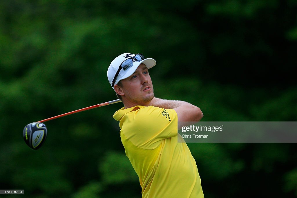 Jonas Blixt of Sweden watches his tee shot on the 17th hole during the final round of the Greenbrier Classic at the Old White TPC on July 7, 2013 in White Sulphur Springs, West Virginia.