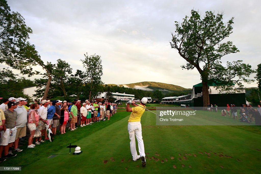 Jonas Blixt of Sweden watches his tee shot on the 18th hole during the final round of the Greenbrier Classic at the Old White TPC on July 7, 2013 in White Sulphur Springs, West Virginia.