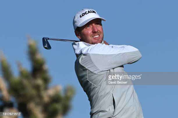 Jonas Blixt plays his shot from the fourth tee during the first round of the MGM Resorts Championship at Paiute at the Las Vegas Paiute Golf Resort...