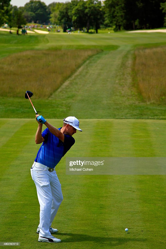 Jonas Blixt tees off on the 10th hole during the second round of the John Deere Classic held at TPC Deere Run on July 10, 2015 in Silvis, Illinois.