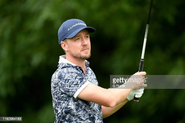 Jonas Blixt tees off on the 12th hole during the second round of the Travelers Championship at TPC River Highlands on June 21, 2019 in Cromwell,...