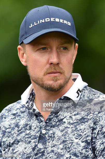 Jonas Blixt waits to tee off on the 12th hole during the second round of the Travelers Championship at TPC River Highlands on June 21, 2019 in...