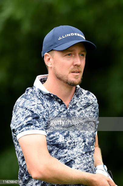 Jonas Blixt watches his tee shot on the 12th hole during the second round of the Travelers Championship at TPC River Highlands on June 21, 2019 in...