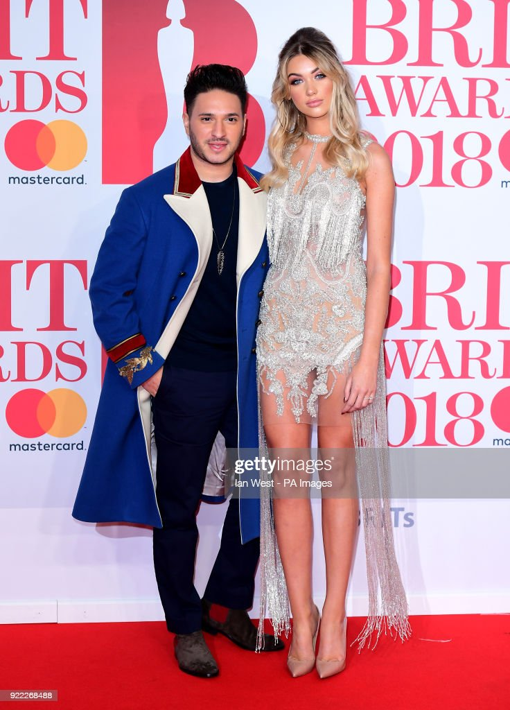 Jonas Blue and guest attending the Brit Awards at the O2 Arena, London.