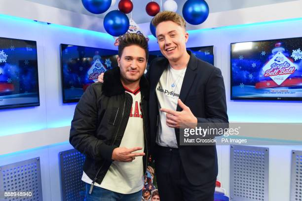 Jonas Blue is interviewed backstage by Roman Kemp and Vick Hope during day one of Capital's Jingle Bell Ball 2017 at the O2 Arena London