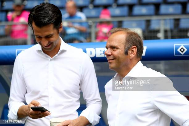 Jonas Boldt , sport director of Hamburg talks to Bernd Hoffmann, president of Hamburg before the Second Bundesliga match between Hamburger SV and SV...
