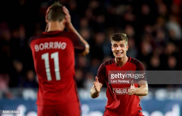 Jonas Borring and Alexander Sorloth of FC Midtjylland shows frustration during the UEFA Europa League Playoff 2nd Leg match between FC Midtjylland...