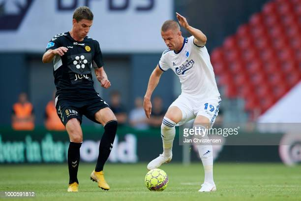 Jonas Borring of AC Horsens and Denis Vavro of FC Copenhagen compete for the ball during the Danish Superliga match between FC Copenhagen and AC...