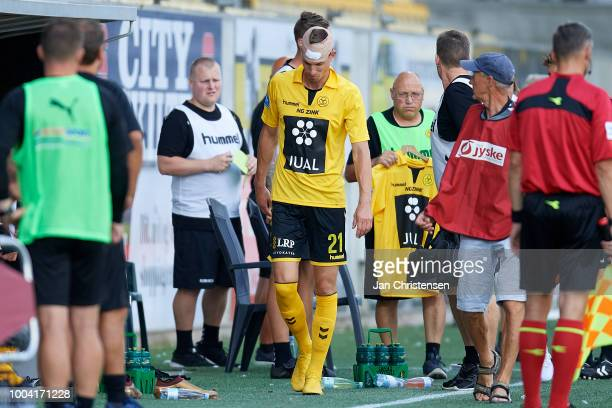 Jonas Borring of AC Horsens get an injury during the Danish Superliga match between AC Horsens and Randers FC at Casa Arena Horsens on July 22 2018...