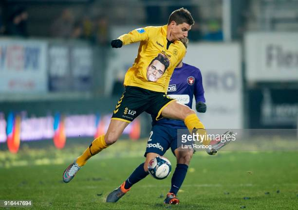 Jonas Borring of AC Horsens in action during the Danish Alka Superliga match between AC Horsens and FC Midtjylland at CASA Arena Horsens on February...