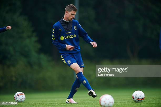 Jonas Borring of Brondby IF in action during the Brondby IF training session at Brondby Stadion on June 14 2016 in Brondby Denmark