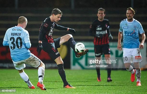 Jonas Borring of FC Midtjylland in action during the Danish Alka Superliga match between SonderjyskE and FC Midtjylland at Sydbank Park on November...