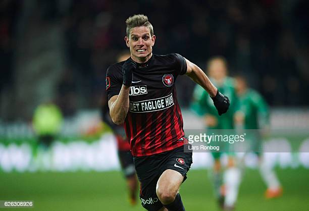 Jonas Borring of FC Midtjylland in action during the Danish Alka Superliga match between FC Midtjylland and OB Odense at MCH Arena on November 27...