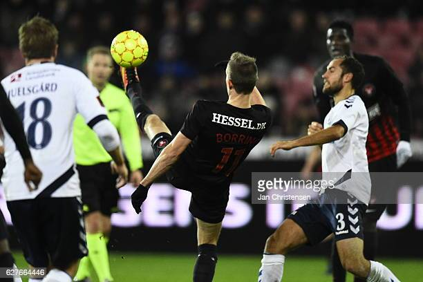 Jonas Borring of FC Midtjylland in action during the Danish Alka Superliga match between FC Midtjylland and AGF Arhus at MCH Arena on December 04...