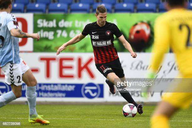 Jonas Borring of FC Midtjylland in action during the Danish Alka Superliga match between SonderjyskE and FC Midtjylland at Sydbank Park on May 12...
