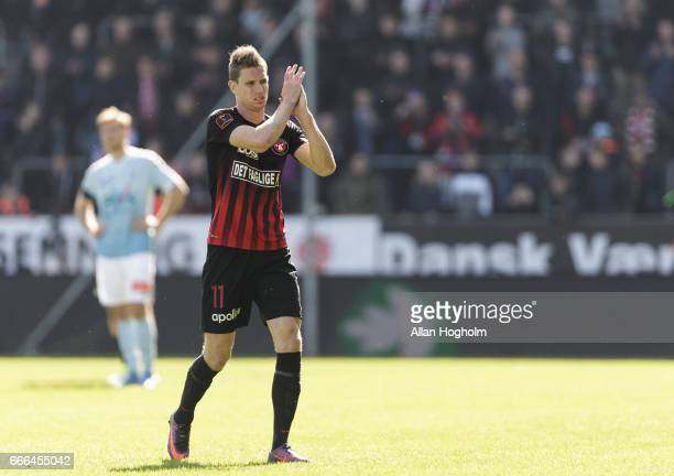 Jonas Borring of FC Midtjylland leaving the pitch during the Danish Alka Superliga match between FC Midtjylland and Sonderjyske at MCH Arena on April...