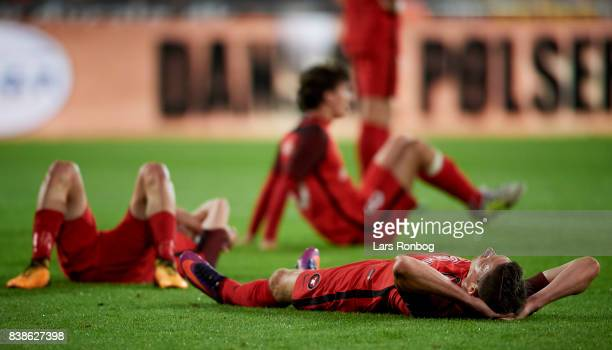 Jonas Borring of FC Midtjylland looks dejected after the UEFA Europa League Playoff 2nd Leg match between FC Midtjylland and Apollon Limassol at MCH...