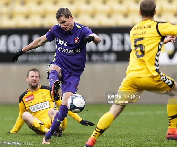 Jonas Borring of FC Midtjylland scoring their first goal during the Danish Alka Superliga match between AC Horsens and FC Midtjylland at CASA Arena...