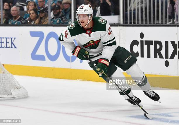 Jonas Brodin of the Minnesota Wild moves the puck ahead against the San Jose Sharks at SAP Center on November 6 2018 in San Jose California