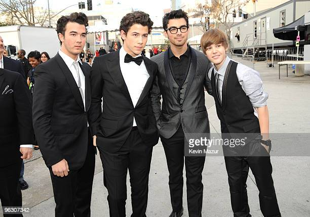 Jonas Brothers and Justin Bieber attends the 52nd Annual GRAMMY Awards held at Staples Center on January 31 2010 in Los Angeles California