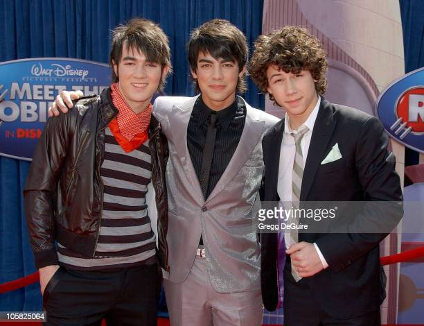 Jonas Brothers during 'Meet the Robinsons' Los Angeles Premiere Arrivals at El Capitan Theater in Hollywood California United States