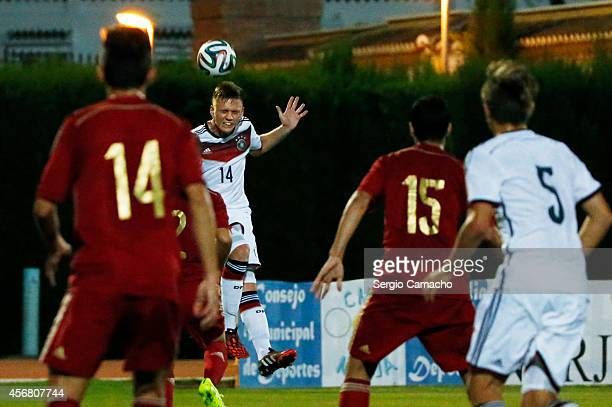 Jonas Busam of Germany during the international friendly match between U17 Spain and U17 Germany at Campo Municipal de Nerja on October 7 2014 in...