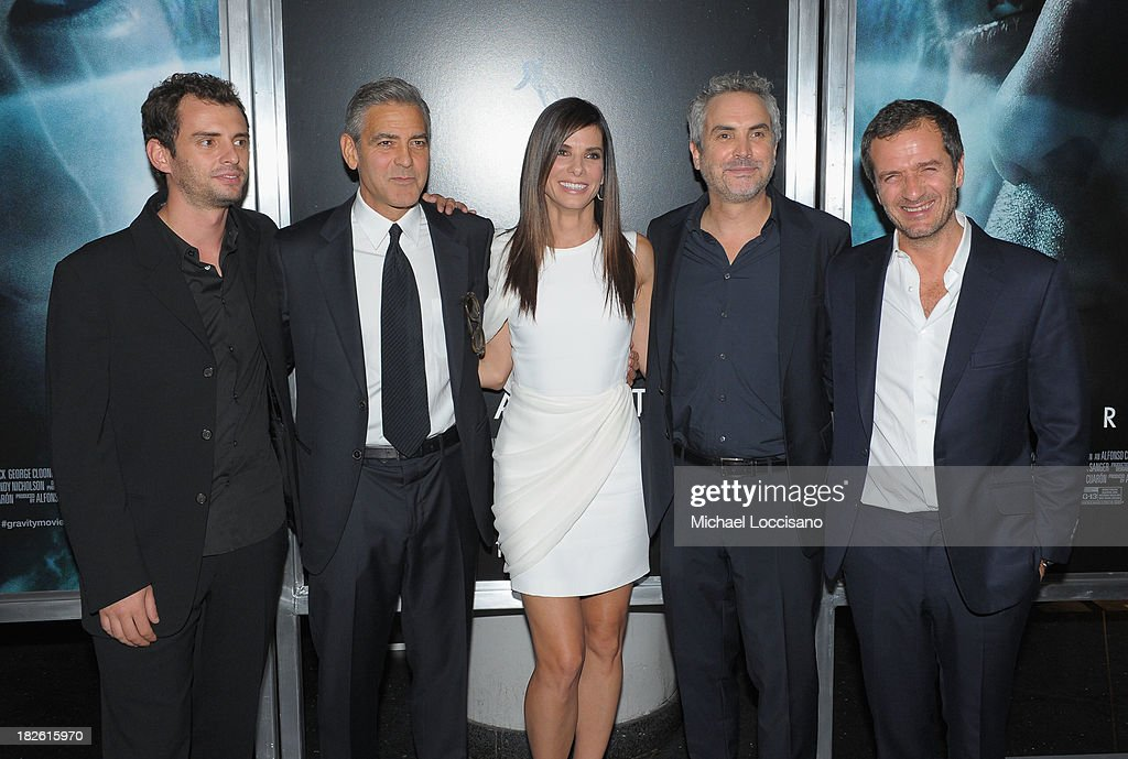 Jonas Cuaron, George Clooney, Sandra Bullock, Alfonso Cuaron and David Heyman attend the 'Gravity' premiere at AMC Lincoln Square Theater on October 1, 2013 in New York City.