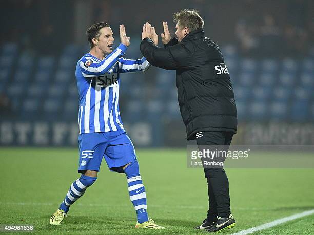 Jonas Dal head coach of Esbjerg fB celebrates with Nicki Bille Nielsen during the Danish Alka Superliga match between Esbjerg fB and FC Nordsjalland...