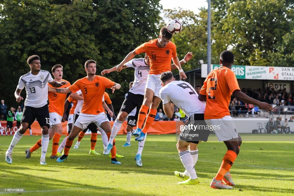 Jonas David of Germany U20, Kik Pierie of Netherlands U20