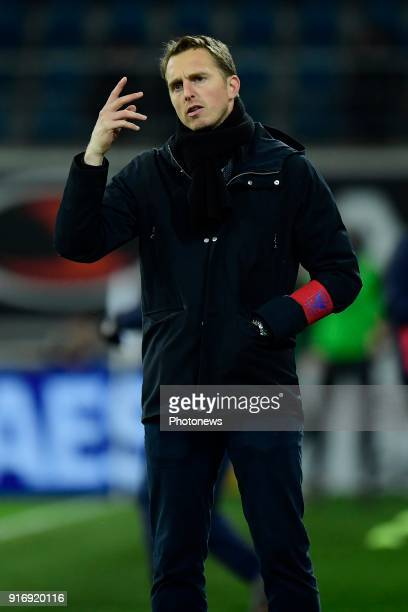 Jonas De Roeck head coach of STVV pictured during the Jupiler Pro League match between KAA Gent and Sint Truidense VV at the Ghelamco Arena on...