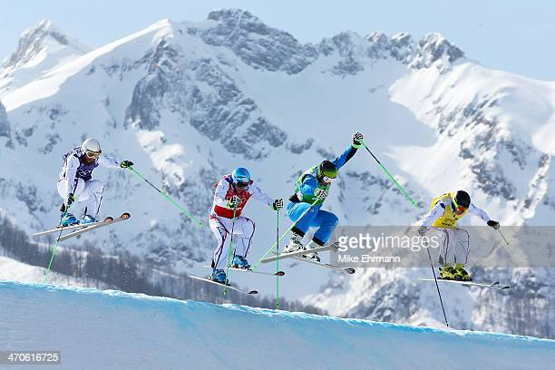 Jonas Devouassoux of France Jean Frederic Chapuis of France Andreas Matt of Austria and Jonathan Midol of France compete during the Freestyle Skiing...