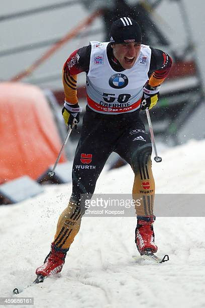 Jonas Dobler of Germany competes in the Men's 15km qualification free sprint at the Viessmann FIS Cross Country World Cup event at DKB Ski Arena on...